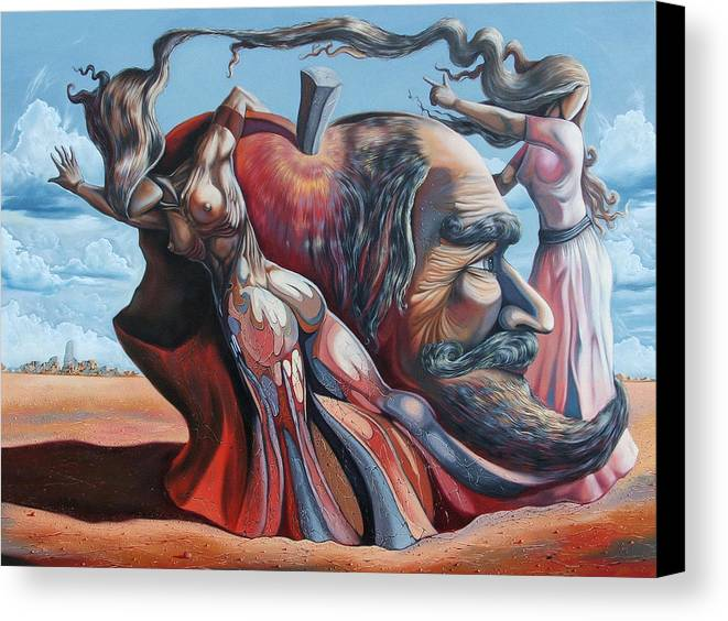 Surrealism Canvas Print featuring the painting The Adam-eve Delusion by Darwin Leon