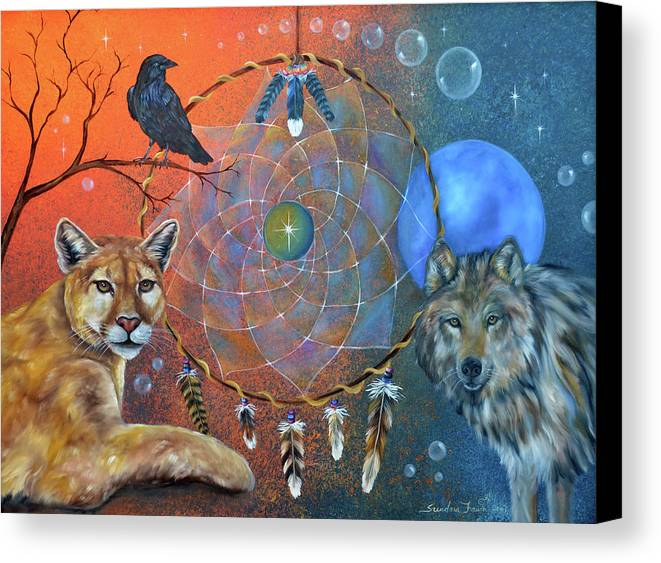 Wolf Canvas Print featuring the painting The Courage To Be Free by Sundara Fawn