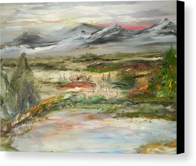 Landscape Canvas Print featuring the painting The Green Field Pond by Edward Wolverton