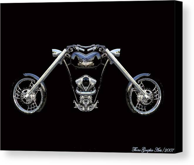 Harley Davidson Canvas Print featuring the painting The Heart Of The Harley by Wayne Bonney