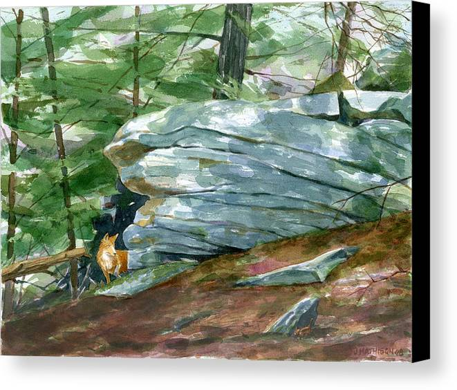 Woods Canvas Print featuring the painting The Hunter by Jeff Mathison
