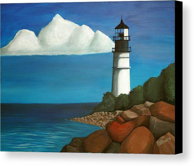 Landscape Canvas Print featuring the painting The Lighthouse by Dan Leamons
