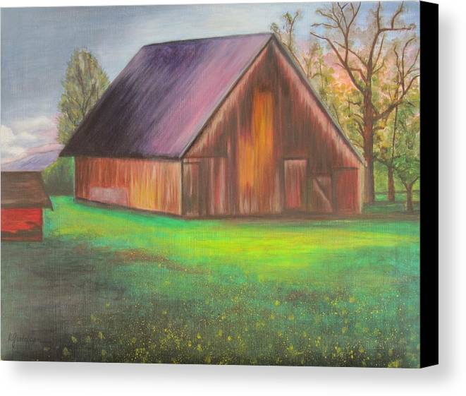 Oil Canvas Print featuring the painting The Ranch by Leslie Gustafson