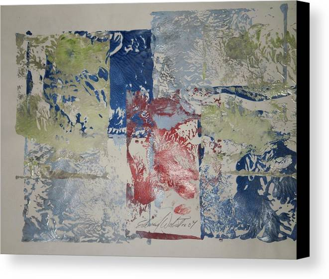 Abstract Canvas Print featuring the painting The Red Barn by Edward Wolverton