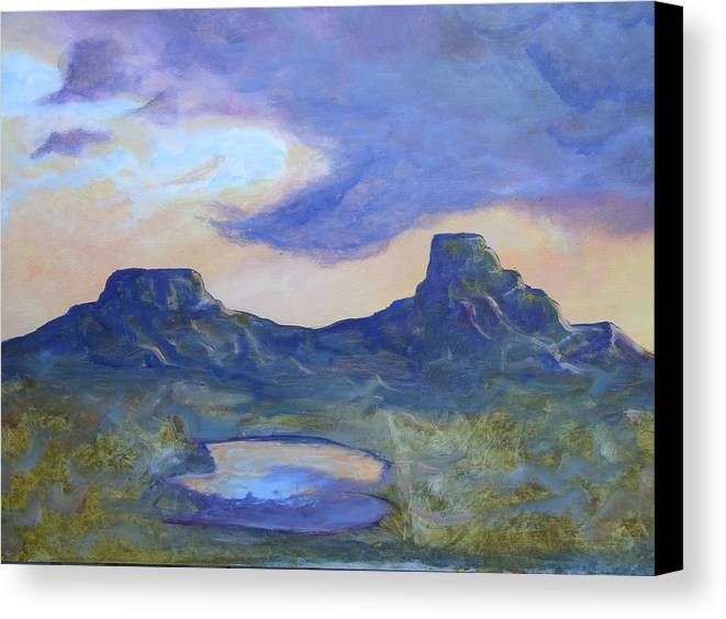 Landscape Canvas Print featuring the painting The Rez After The Rain- Commision For Nigel And Laura by Ernie Scott- Dust Rising Studios