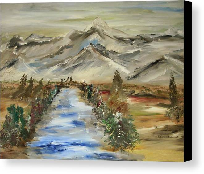Landscape Canvas Print featuring the painting The River Flows by Edward Wolverton