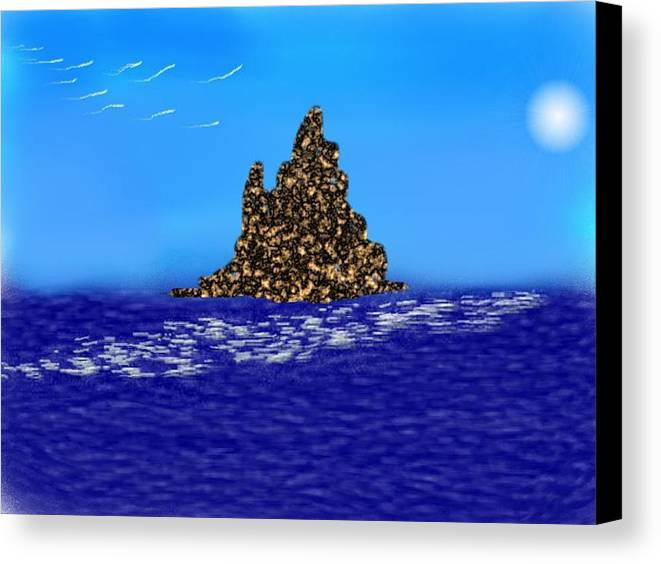 Sky.moon.birds.island.sea.reflection Moon On Water.rest.silence. Canvas Print featuring the digital art The Solitude by Dr Loifer Vladimir