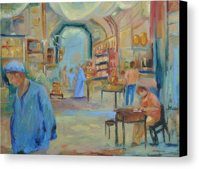 Figurative Canvas Print featuring the painting The Souk by Ginger Concepcion