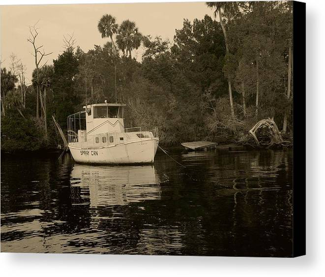 Boat Canvas Print featuring the painting The Spray Can Sepia by Debbie May