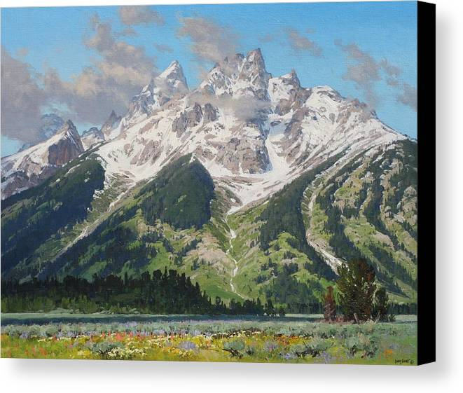 Landscape Canvas Print featuring the painting Timbered Island by Lanny Grant
