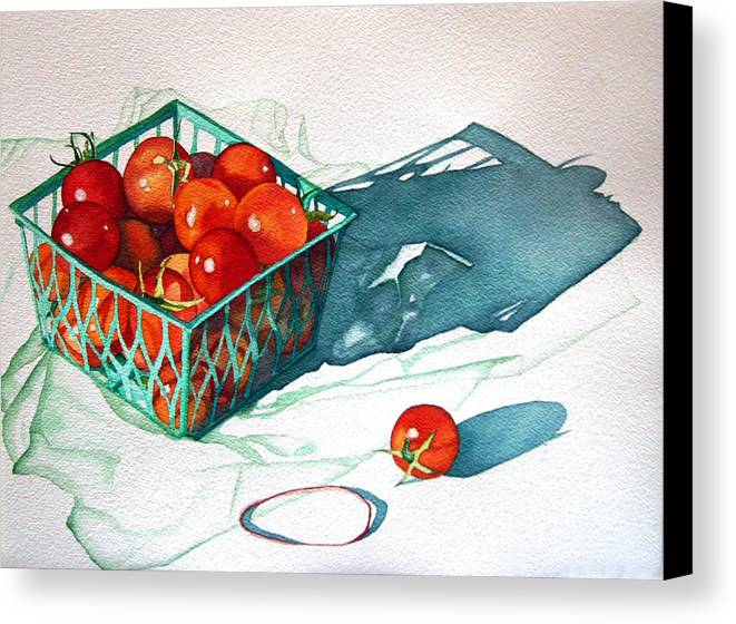 Tomatos Canvas Print featuring the painting Tomato Basket by Gail Zavala