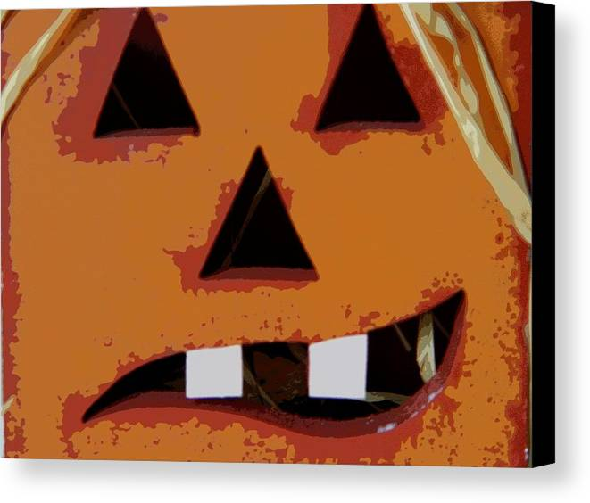 Halloween Canvas Print featuring the photograph Toothy Pumpkin by Florene Welebny