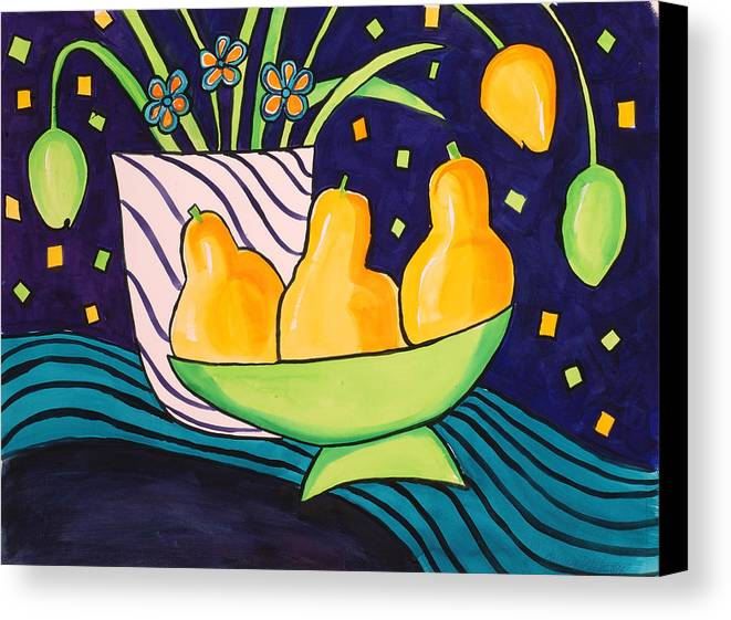 Painting Canvas Print featuring the painting Tulips And 3 Yellow Pears by Carrie Allbritton