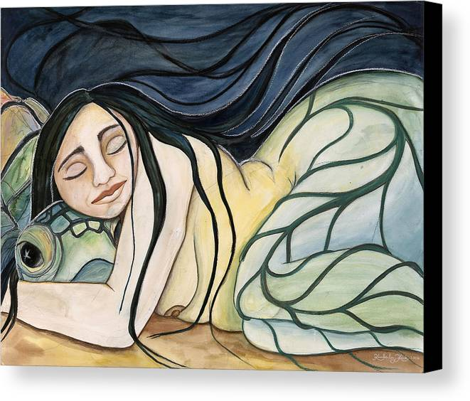 Woman Canvas Print featuring the painting Turtle Daughter by Kimberly Kirk