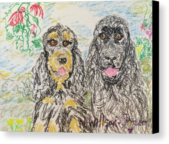 Two Cockers Canvas Print featuring the drawing Two Cockers by N Willson-Strader