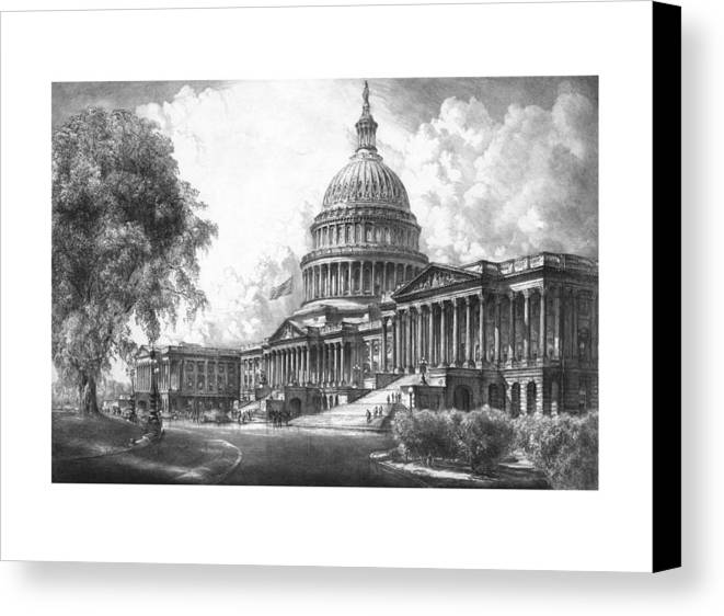 Capitol Canvas Print featuring the mixed media United States Capitol Building by War Is Hell Store