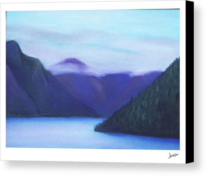Landscape Canvas Print featuring the painting Us Hwy 101 Lake Crescent Washington by Gary Jameson