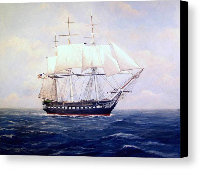 Marine Art Canvas Print featuring the painting Uss Constitution by William H RaVell III