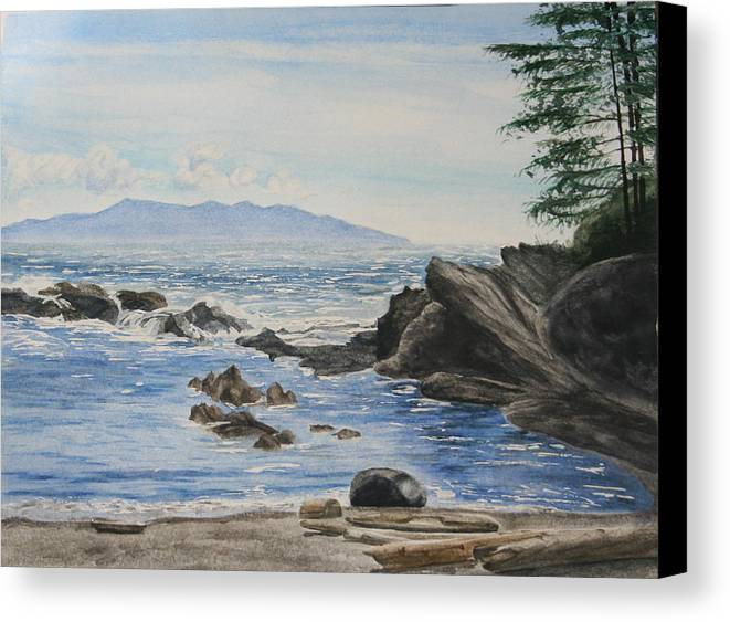 Seascape Canvas Print featuring the painting Vancouver Island by Monika Degan