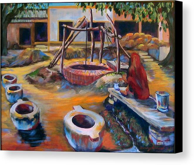 Village Canvas Print featuring the painting Village Well by Art Nomad Sandra Hansen
