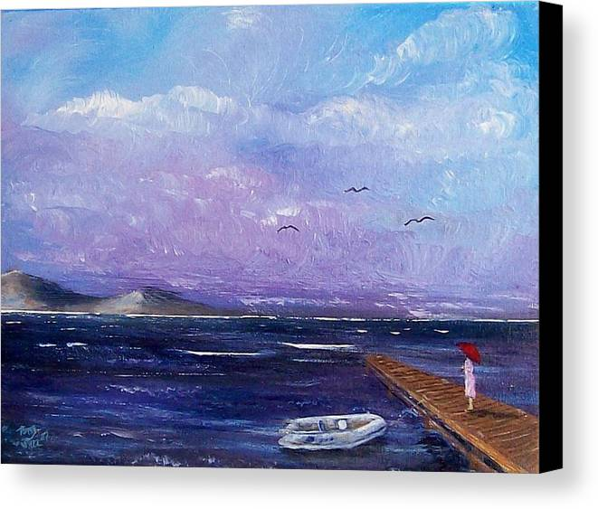 Seascape Canvas Print featuring the painting Waiting On The Dock by Tony Rodriguez