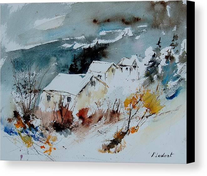 Winter Canvas Print featuring the painting Watercolor 9090723 by Pol Ledent