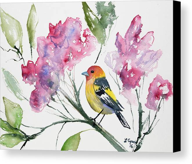 Western Tanager Canvas Print featuring the painting Watercolor - Western Tanager In A Flowering Tree by Cascade Colors