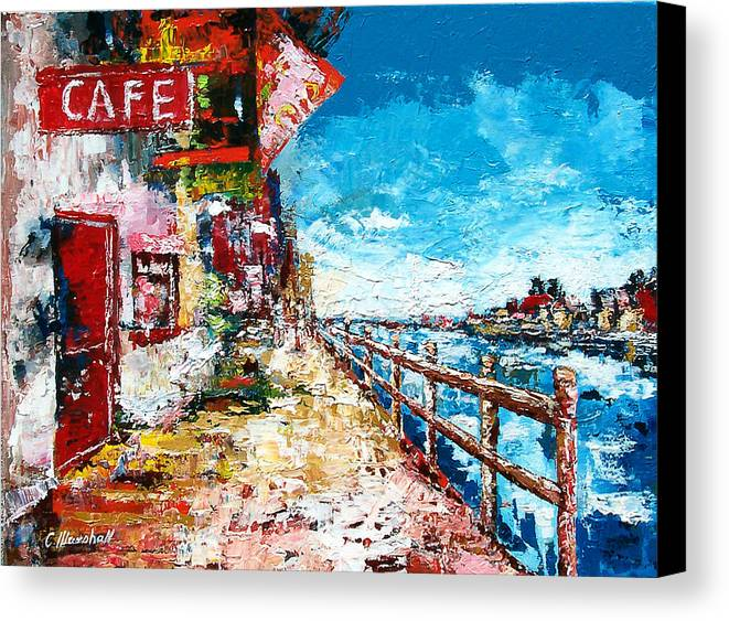 Art Canvas Print featuring the painting Waterfront Cafe by Claude Marshall