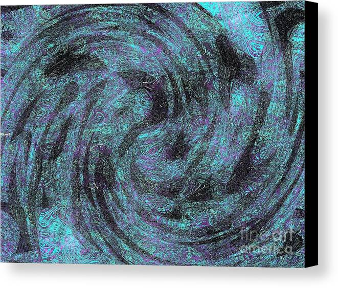 Abstract Canvas Print featuring the digital art Whales, Sharks And Other Sea Life by Debra Lynch