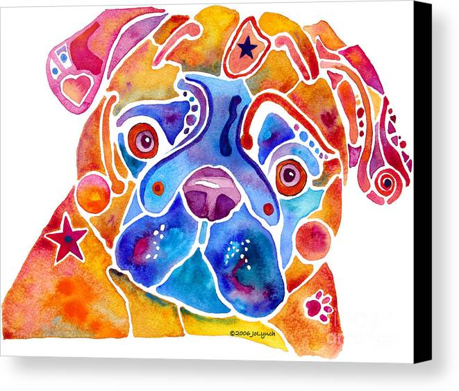 Pug Canvas Print featuring the painting Whimsical Pug Dog by Jo Lynch