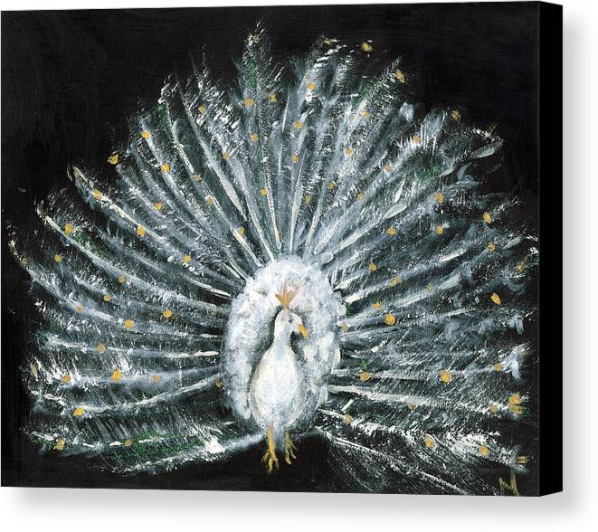 Peacock Canvas Print featuring the painting White And Gold Peacock by Michela Akers