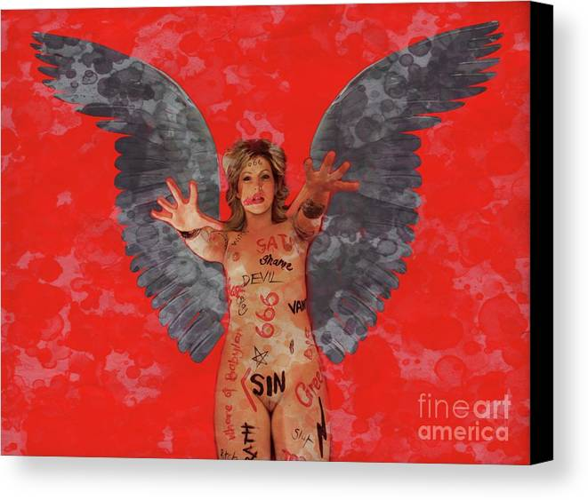 Vampire Canvas Print featuring the digital art Whore Of Babylon By Mb by Mary Bassett