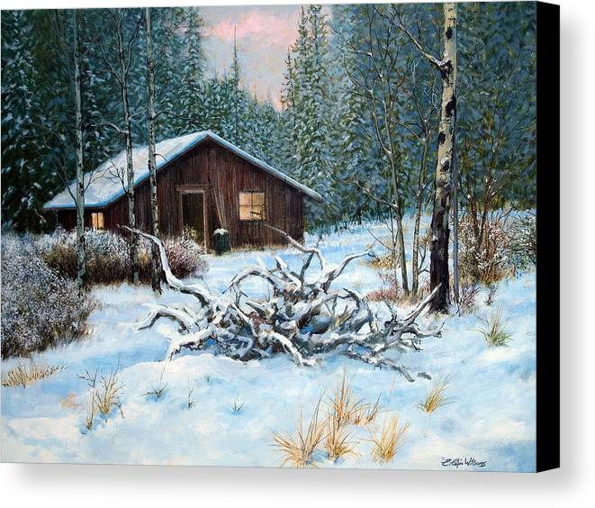 Winter Landscape Canvas Print featuring the painting Winter Cabin by E Colin Williams ARCA