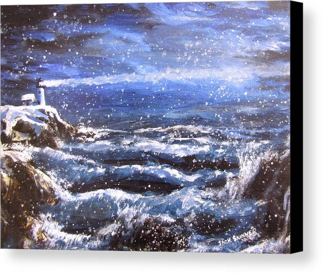 Ocean Canvas Print featuring the painting Winter Coastal Storm by Jack Skinner