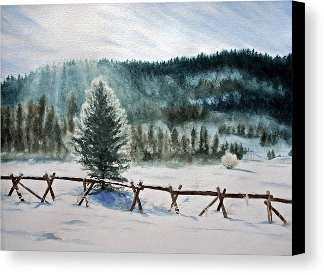 Landscape Canvas Print featuring the painting Winter Glow by Monika Degan