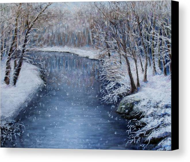 Landscape Canvas Print featuring the painting Winter River by Susan Jenkins