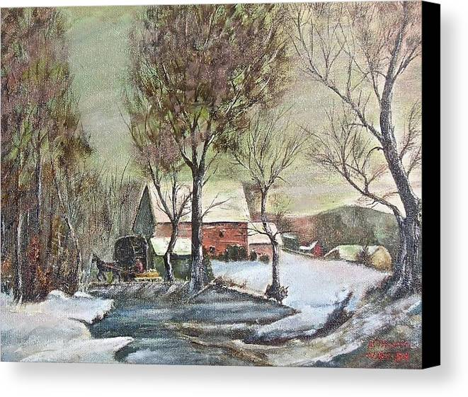 Landscape Painting Canvas Print featuring the painting Winter Scene With Horse by Nicholas Minniti