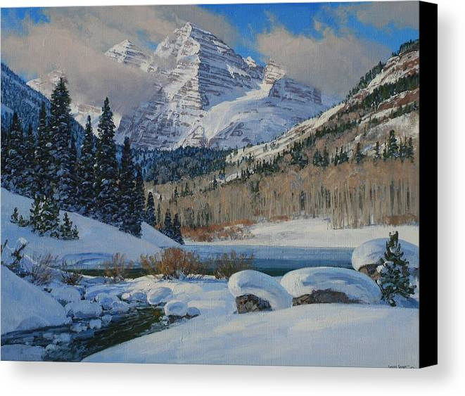Landscape Canvas Print featuring the painting Winter Willows by Lanny Grant