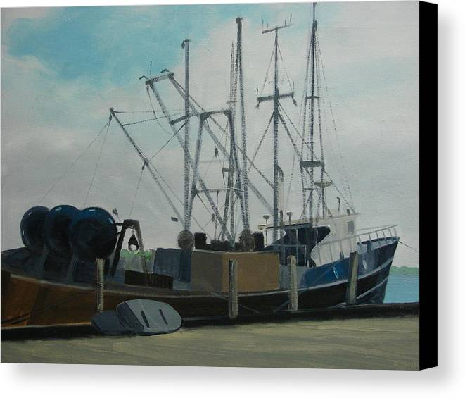 Boat Shrimpboat Work Boat Canvas Print featuring the painting Work Boat At Rest by Robert Rohrich