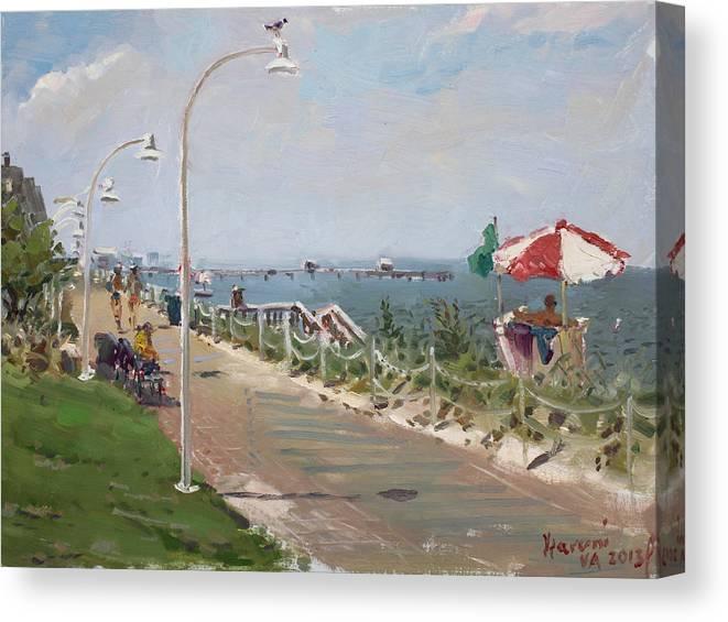 Norfolk Canvas Print featuring the painting Beach Border Walk In Norfolk Va by Ylli Haruni