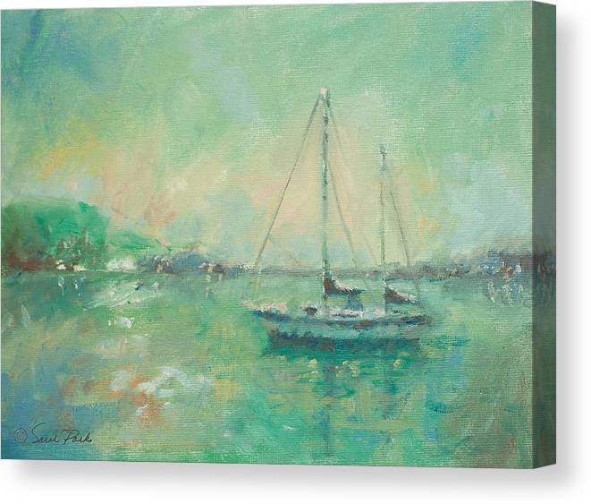 Sail Boat Canvas Print featuring the painting Emerald Sunrise by Sarah Parks