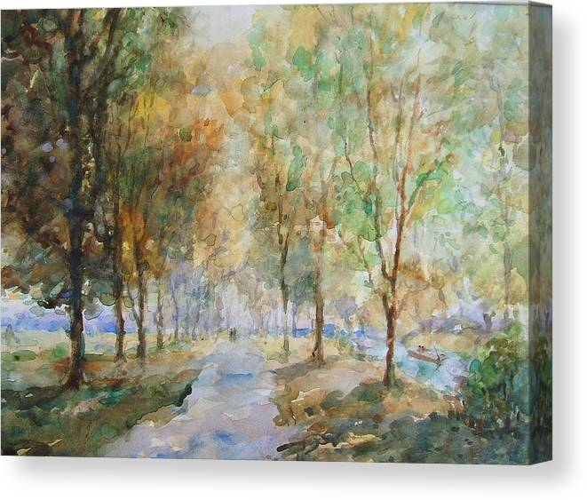 Winter.landscape Canvas Print featuring the painting A Winter Walk by Malcolm Mason