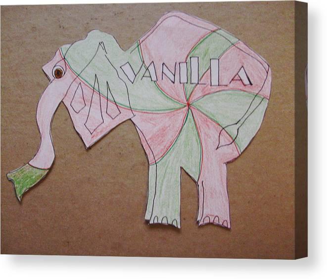 Bakery Canvas Print featuring the drawing Baking Elephant Vanilla by Carolina Campbell