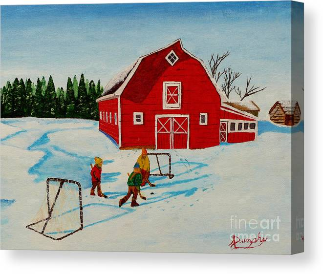 Hockey Canvas Print featuring the painting Barn Yard Hockey by Anthony Dunphy