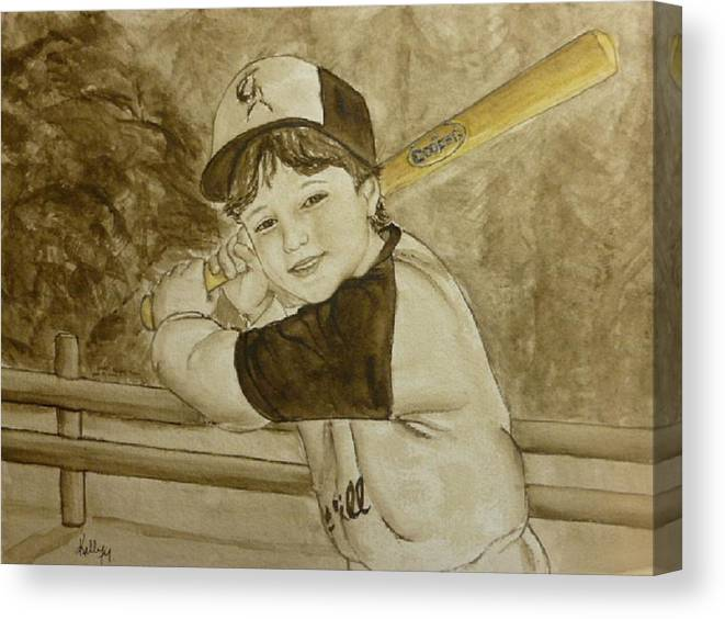 Bat Canvas Print featuring the painting Baseball At It's Best by Kelly Mills