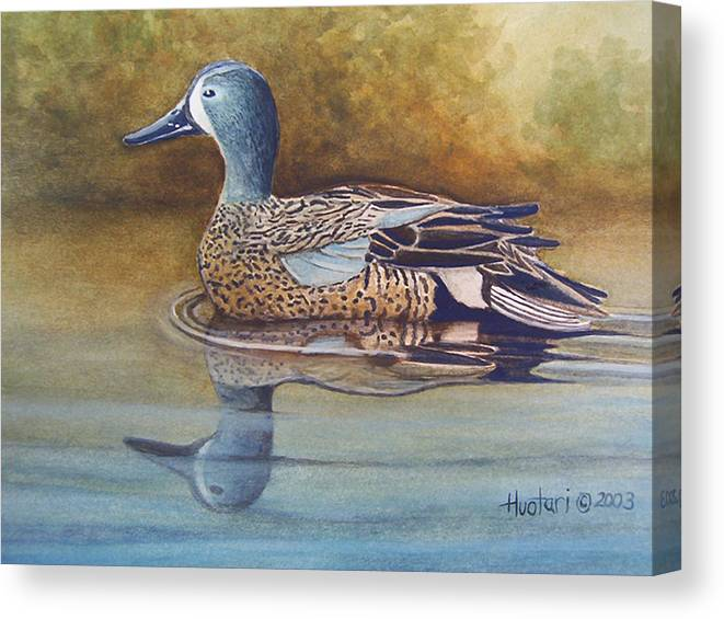 Rick Huotari Canvas Print featuring the painting Blue Winged Teal by Rick Huotari