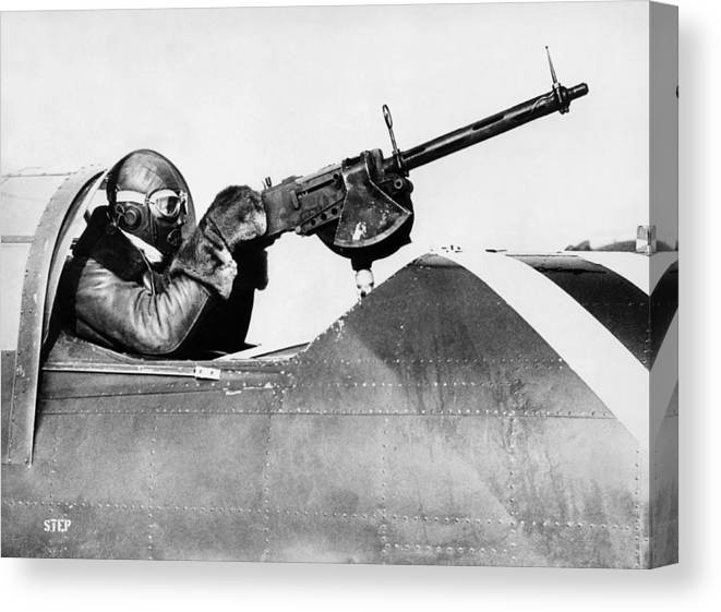 1933 Canvas Print featuring the photograph Chilly Army Air Corp Plane by Underwood Archives