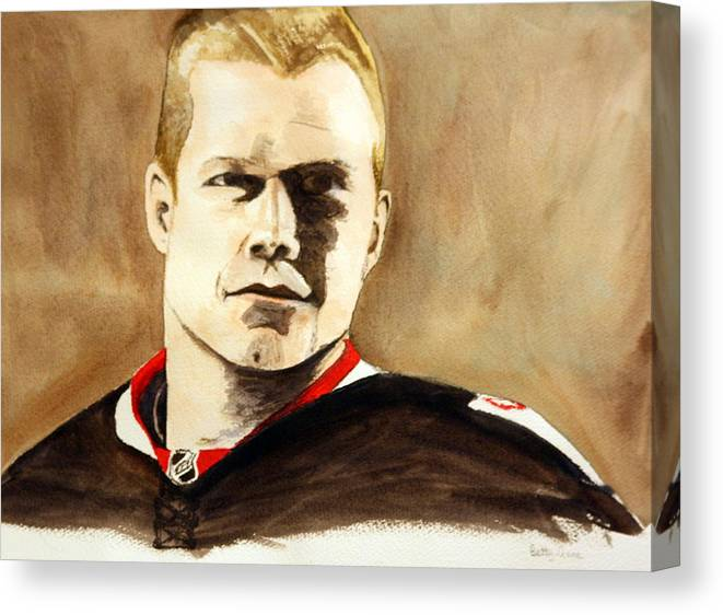 Nhl Canvas Print featuring the painting Chris Neil by Betty-Anne McDonald