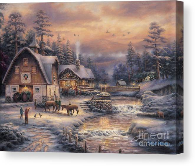 Winter Farm Canvas Print featuring the painting Country Holidays 2 by Chuck Pinson
