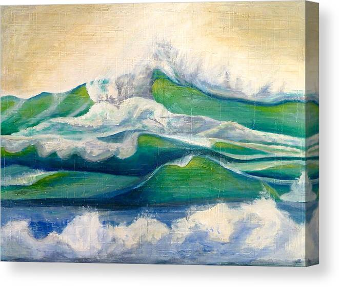 Waves Canvas Print featuring the painting Crashing Waves by Jason Kuncas